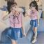 เสื้อ+กระโปรง สีชมพู แพ็ค 5 ชุด ไซส์ 120-130-140-150-160 (เลือกไซส์ได้) thumbnail 1