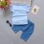 เสื้อ+กางเกง สีฟ้า แพ็ค 4 ชุด ไซส์ 80-90-100-110 thumbnail 2