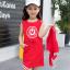 เดรส+เสื้อกั๊ก สีแดง แพ็ค 5 ชุด ไซส์ 110-120-130-140-150 (เลือกไซส์ได้) thumbnail 1
