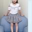 เสื้อ+กระโปรง สีขาว แพ็ค 5 ชุด ไซส์ 120-130-140-150-160 (เลือกไซส์ได้) thumbnail 3