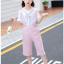 เสื้อ+เอี๊ยมกางเกง สีชมพู แพ็ค 5 ชุด ไซส์ 120-130-140-150-160 (เลือกไซส์ได้) thumbnail 5