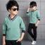 เสื้อ+กางเกง สีเขียว แพ็ค 4 ชุด ไซส์ 120-130-140-150 (เลือกไซส์ได้) thumbnail 1
