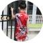 ชุดกี่เพ้าสีแดงลายนกยูง [size 2y-3y-4y-5y-6y-7y] thumbnail 4