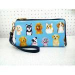 กระเป๋าสตางค์ผ้าลายน้องหมาสีฟ้าJSPAN