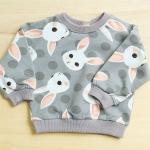 เสื้อแขนยาวกันหนาว ลายกระต่ายสีเทา