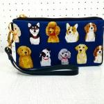กระเป๋าสตางค์ลายน้องหมาสีน้ำเงินผ้าJAPAN