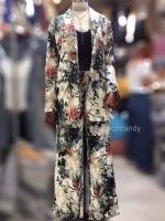 ชุดเซ็ทเสื้อสูท Set :Zara Floral printedBlazer wt Trousers สีน้ำเงินกรม