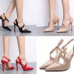 รองเท้าส้นสูงปลายแหลมสีแดง/ดำ/นู๊ด ไซต์ 35-39