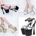 รองเท้าส้นสูงส้นสุดเก๋ สีดำ/เงิน/ทอง ไซต์ 34-34