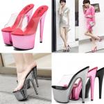 รองเท้าส้นสูง 6.8 นิ้ว แบบสวมสีพื้นเงาสีชมพู/เทา ไซต์ 35-43 รุ่นนี้สามารถสั่งเพิ่มความสูงเป็น 8 นิ้วได้