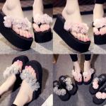 รองเท้าส้นสูงฟองน้ำสีชมพู ม่วง เทา ไซต์ 34-41