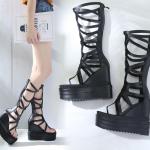 รองเท้ารัดขายาวส้นเตารีดสีดำ ไซต์ 34--39
