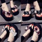 รองเท้าส้นสูงฟองน้ำ สีแดง ดำ เงิน ไซต์ 35-41