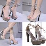 รองเท้าส้นสูงคาดหน้าพลาสติกใสเชือกผูกข้อเท้าสีทอง/เทา ไซต์ 34-39
