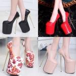 รองเท้าส้นสูง ไซต์ 35-40 สีดำ สีแดง สีนู๊ด ลายดอกไม้