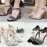 รองเท้าส้นสูงสีดำ/ครีม ไซต์ 35-42