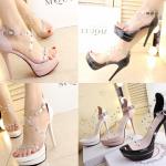 รองเท้าส้นสูงสีชมพู/ดำ/ขาว ไซต์ 34-38