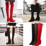 รองเท้าบูทยามส้นเตารีดปลายแหลมสีแดง/ดำ/น้ำตาล ไซต์ 34-43
