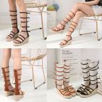 รองเท้าส้นเตารีด Gladiator สีดำ/น้ำตาล ไซต์ 35-40