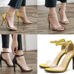 รองเท้าส้นสูงแบบสวยสีเหลือง/ดำ/ครีม ไซต์ 34-40