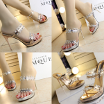 รองเท้าส้นสูงแบบสวมสีทอง/เงิน ไซต์ 34-39