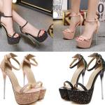 รองเท้าส้นสูงเกร็ดเพชรสีชมพู/ดำ ไซต์ 34-40