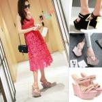 รองเท้าแฟชั่น ไซต์ 34-39 สีชมพู,กะปิ,ดำ