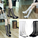 รองเท้าส้นสูงทรงบูทผ้าตาข่ายโปร่ง สีขาว/ดำ ไซต์ 34-43