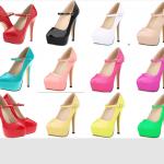 รองเท้าส้นสูงคัดชูสีดำ/แดง/ขาว/นู๊ด/ชมพูอ่อน/ชมพูเข้ม/ม่วง/ฟ้า/เขียว/เหลืองอ่อน/เหลืองเข้ม