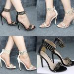 รองเท้าส้นสูงติดหมุดสวยเก๋ สีดำ/ขาว/ครีม ไซตฺ์ 35-40