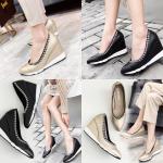 รองเท้าส้นเตารีดคัดชูปลายแหลมสีทอง/ดำ ไซต์ 35-39
