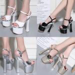 รองเท้าส้นสูงประกวดสีเงิน/ทอง/ดำ/ขาว ไซต์ 34-39