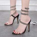 รองเท้าส้นสูงสายพันรอบขาสวยเก๋สีดำ ไซต์ 35-40
