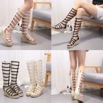 รองเท้าส้นเตารีด Gladiator สีดำ/ครีม ไซต์ 35-40