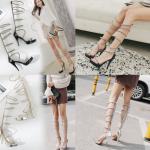 รองเท้าส้นสูงสายยาวรอบขาสีเงิน/ดำ ไซต์ 35-40