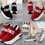 รองเท้าผ้าใบเสริมส้นสีแดง/ดำ/เทา ไซต์ 35-40