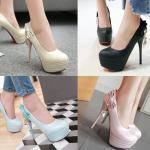 รองเท้าส้นสูงคัดชูสีฟ้า/ชมพู/ครีม/ดำ ไซต์ 34-43
