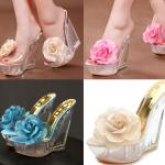 รองเท้าส้นเตารีดส้นแก้วแต่งดอกกุหลาบผ้าสีชมพู/ฟ้า/ครีม ไซต์ 34-40