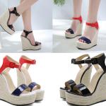 รองเท้าส้นเตารีดสูง 6 นิ้ว ส้นถักเปียรอบสีแดง/ดำ ไซต์ 35-40