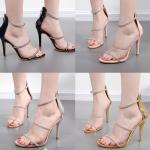 รองเท้าส้นสูงสีทอง/เงิน/ดำ/เบจ ไซต์ 35-40