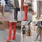 รองเท้าทรงบูทยาวสีแดง/ดำ/เทา/น้ำตาล ไซต์ 34-43