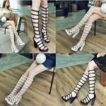 รองเท้า Gladiator ส้นสูงสีขาว/ดำ ไซต์ 34-43