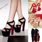 รองเท้าส้นสูง ไซต์ 34-39 สีดำ/ขาว/ชมพู