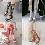 รองเท้าส้นสูงส้นเตารีดแบบเก๋สีแดง/ดำ/ขาว/น้ำตาล ไซต์ 34-43