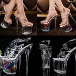 รองเท้าแฟชั่นส้นแก้วแบบพื้นใส /พื้นดอก ไซต์ 34-40
