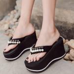 รองเท้าส้นสูงฟองน้ำ สีดำ ไซต์ 35-39