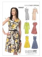แพทเทิร์นตัดเดรสสตรี มิกซ์แอนด์แมช Vogue 9167 ไซส์ปกติ Size: 6-8-10-12-14 (อก 30.5-36 นิ้ว)