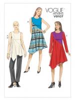 แพทเทิร์นตัดเดรส เสื้อ กางเกง Vogue 9107 ไซส์ปกติ Size: 6-8-10-12-14 (อก 30.5-36 นิ้ว)
