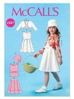 แพทเทิร์นตัดชุดเดรส เสื้อครอป กระโปรง เสื้อคลุม หมวกเด็กหญิง Mccalls 6914 Size: 2-3-4-5 ขวบ