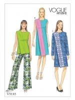 แพทเทิร์นตัดเดรส เสื้อ กางเกง Vogue 9185 ไซส์ปกติ Size: 6-8-10-12-14 (อก 30.5-36 นิ้ว)
